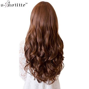 "17/24/27/29"" Long Curly Synthetic Clip in Hair Extensions Half Full Head Hairpiece 5 clips One Piece Black Brown Blonde"