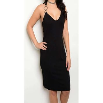 Women's Black Sleeveless Plunging Neckline Dress Plus Size