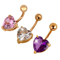 Charming Jewelry Color Gold-plated Rhinestone Love Dangle Belly Button Ring Sexy Body Jewelry
