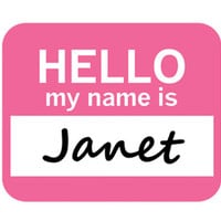 Janet Hello My Name Is Mouse Pad