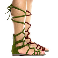 Rita72 Open Toe Gladiator Knotted Lace Up Wrap Flat Sandals