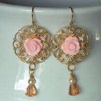 Peach Cabbage Rose Flower Earrings, Peach Glass Faceted Drop, Gold Brass Filigree