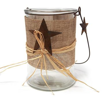 Hanging Glass Candle Holder with Star, 5-1/2-Inch