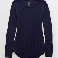 Aerie Real Soft® Long Sleeve Tee, Navy