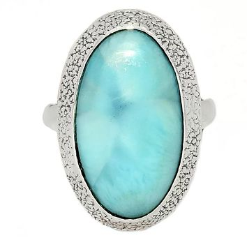 Larimar Sterling Silver Oval Ring