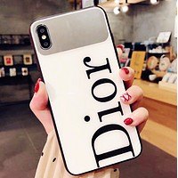 DIOR Fashion New Letter Print Mirror Women Men Protective Cover Phone Case White