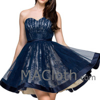 Strapless Sweetheart Short Lace Tulle Two Tone Homecoming Dress Formal Prom Gown