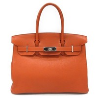 HERMES Birkin 30 Handbag Togo Leather Potiron Orange Used Vintage bag Women