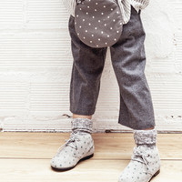 Tocoto Vintage Girls Shearling Bootie in Grey Star Print - W0415