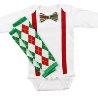 Baby Boys Christmas Outfit   Striped Christmas Bow Tie Red Suspenders & Argyle Leg Warmers Outfit   Boys Christmas Set