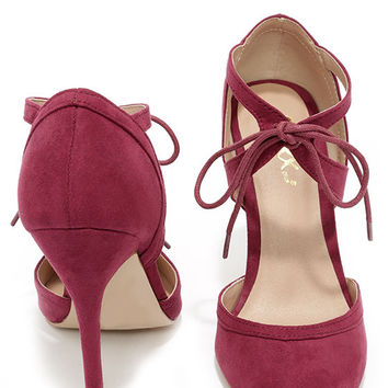 Such a Crush Wine Suede Pointed Lace-Up Heels