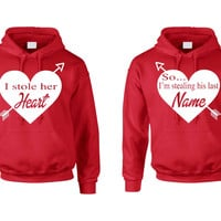 I stole her heart so Im stealing his last name Valentines day hoodies Couple