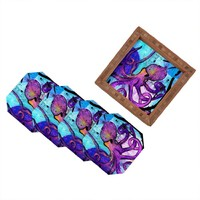 DENY Designs Sophia Buddenhagen Purple Octopus Coasters, Set of 4