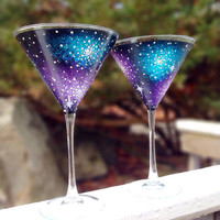 Hand painted galaxy martini glasses (set of 2)