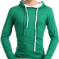 Doublju Mens Casual string hoodie shirts GREEN S(S2H)