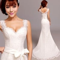 Discount Ivory White Lace Moderate Second Wedding Bridal Dresses SKU-118328