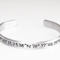 """Coordinate Cuff Customized Hand Stamped GPS Bracelet Personalized Custom Bracelet 1/4"""" Wide Customize This Christmas Gift Stocking Stuffer"""