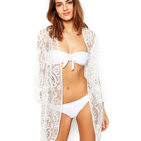White Floral Lace Embroidered Cut-Out Beach Cover Up