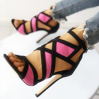 Hot Selling Women's Super High-heeled Slim High-heeled Open-toed Sandals
