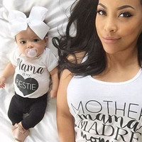 Newborn Baby Boys Girls Mama Bestie Summer outfits Kids Casual Cotton letter T-shirt Tops+Long Pants Outfit Clothes Set 0-24M