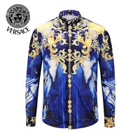 VERSACE Popular Men Women Comfortable Personality Print Long Sleeve Lapel Shirt Top
