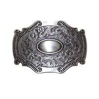 Victorian Scroll Belt Buckle - Antique Silver