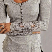 Lace Embroidered Sleeve Button-Up Shirt