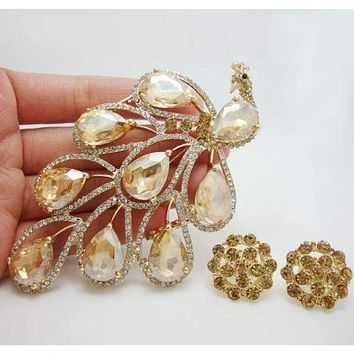 Vintage Fashion Nigerian African Style Peacock Bird Brooch Pin Earrings Set Brown Crystal Rhinestone Bird