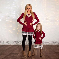 Mommy and Me Red Matching Lace Tunic Dress