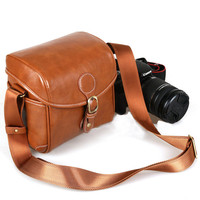 Small Leather Crossbody DSLR Camera Bag