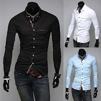 Designer Trim Fashion Men Slim Fit Dress Shirt