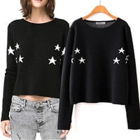 'The Abril' Black Star Patterned Pullover