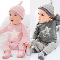 Newest Baby Infant Clothing set Bodysuit Star Tops Pant Hat Outfit Clothes 0~24M [9325380932]