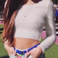 White Mohair Long Sleve Cropped Sweater - Choies.com