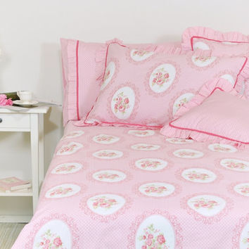 Pink Floral Duvet Cover Set in Full Queen King Size, Victorian Rose Print Cotton Fabric, Floral Shabby Chic Bedding Set, Ruffle Pillowcases
