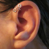 """SALE 3 for Price of 2 Cartilage Helix Cuff Ear Cuffs Sterling Silver  """"Spiral Up"""" No Piercing Handmade"""