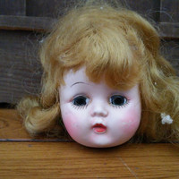 Vintage Plastic Doll Head Sleepy Eyes Great Creepy Decor