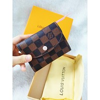 LV Louis Vuitton High Quality Women Pink Buckle Key Packet PU Small Coin Purse Wallet Key Pouch