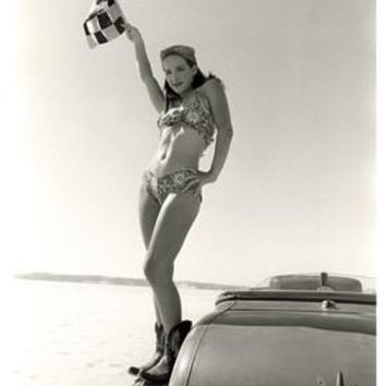 Bonneville El Mirage Pin Up Girl Photo by David Perry Fine Art Print