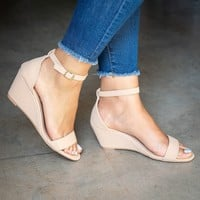 Single Band  Nude Wedge Sandals
