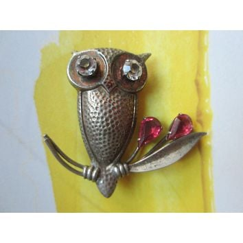 Joseff of Hollywood Style Sterling Hand Soldered Owl Brooch Tear Drop Ruby Glass Gems