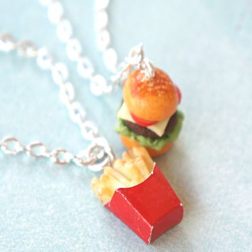 Burger and Fries Friendship Necklace Set