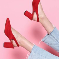 Karli Faux Suede Slingback - Red