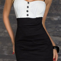 Black and White Spaghetti Strap Button Designed Dress