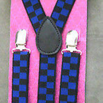 Solid Black Adjustable Bow tie & Navy Blue Black Checkered Suspenders Combo-New!
