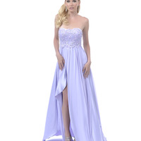 2014 Prom Dresses - Lilac Sequined Lace Overlay Strapless Long Dress