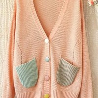 Candyhouse Wonders V-Neck Pocketed Knit Cardigan in Pink   Sincerely Sweet Boutique