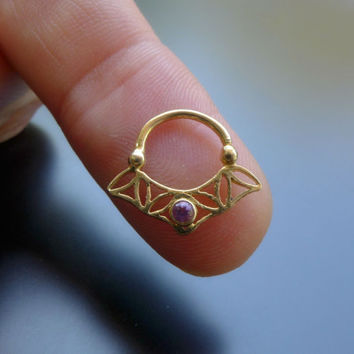 Sacred Geometry Flower Of Life Septum Ring With Amethyst Stone - Gold Plated Septum For Pierced Nose - Tribal Jewelry