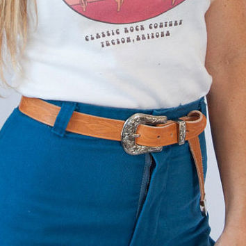 """Genuine tan tooled leather western belt   Floral Etched Silver Buckle Belt   1"""" thin real leather boho western light brown thin belt"""