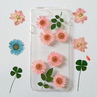 pink iPhone 5s Case Floral, iPhone 6s Plus Case Clear, Pressed Flower iPhone 6s Case, Clear iPhone 4s Case, pressed flower iphone 5c case